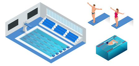 diving platform: Isometric people diving into water in to the swimming pool, diver. Male swimmer, that jumping and diving into indoor sport swimming pool. Sporty man.
