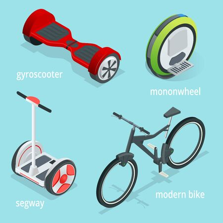 Isometric vector set of Alternative Eco Transport isolated on a blue background. Segway, Monowheel or Solowheel, Hoverboard or Gyroscooter, Self-balancing electric scooter.