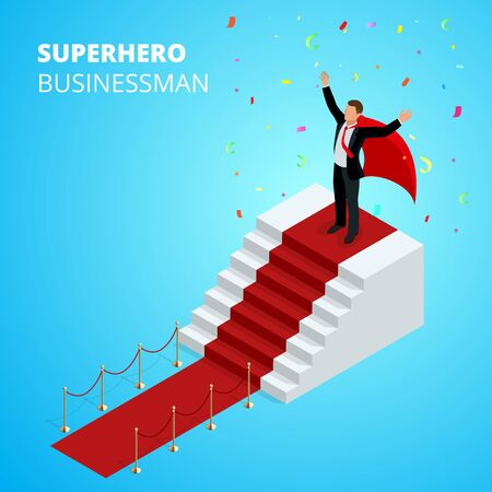 Isometric Super Hero Businessman on the Podium with red carpet isolated on white background.