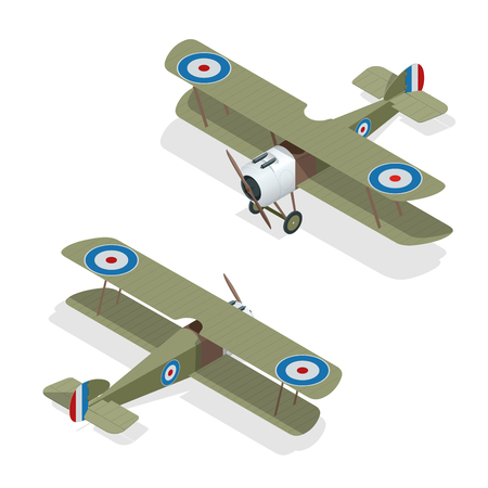 Isometric vector small airplane or old biplane. Illustration