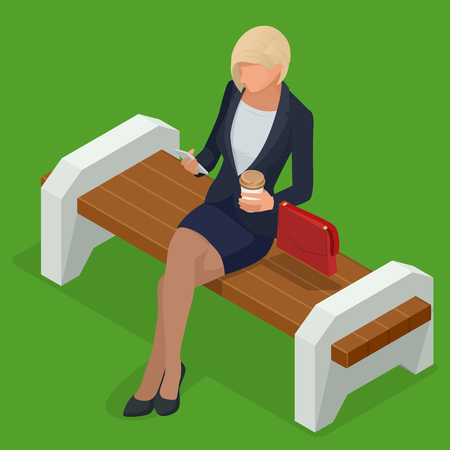 Isometric business woman in corporate clothing, stylish clothing.Business woman resting on bench in park and looking into phone Vector illustration.