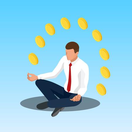 meditation man: Young yoga position businessman relaxing. Businessman sitting in padmasana lotus pose. Isometric illustration