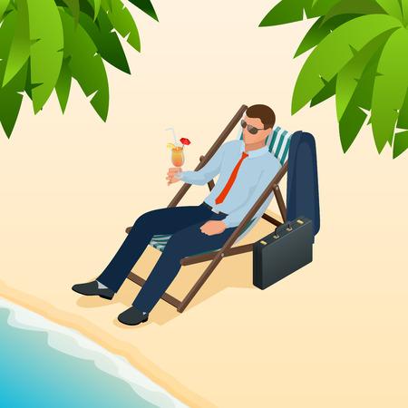 Empresario relajante en su tumbona en la playa. Personas isométricas Vector de idea, innovación, desarrollo y estrategia de negocios Foto de archivo - 85021373