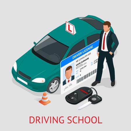Koncepcja projektu jazdy szkoły lub nauki jazdy. Płaski izometryczny ilustracji