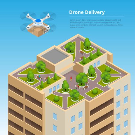 Isometric Drone Fast Delivery of goods in the city. Technological shipment innovation concept. Autonomous logistics.