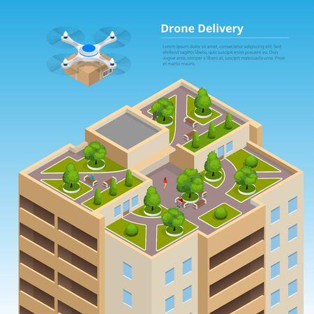 Isometrische Drone Snelle levering van goederen in de stad. Technologische zending innovatie concept. Autonome logistiek.