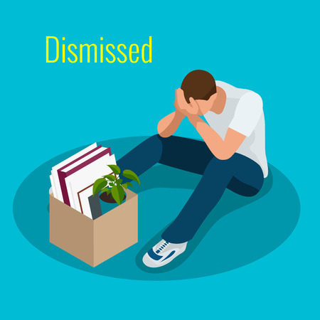 unemployed dismissed: Isometric 3d vector illustration people Dismissed sad man carrying box with her things Dismissal, Unemployment, jobless and employee job reduction concept Illustration