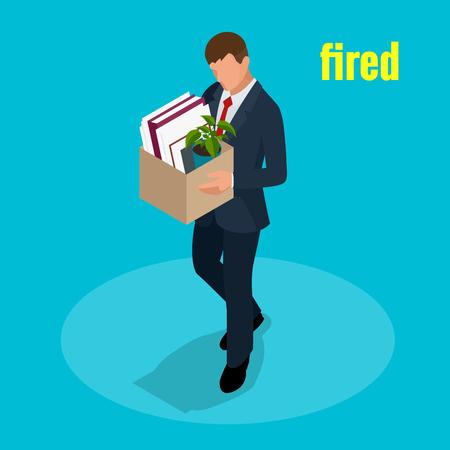 Isometrische 3D-Vektor-Illustration Menschen Entlassenen traurigen Mann tragen Box mit ihren Sachen Entlassung, Arbeitslosigkeit, arbeitslos und Mitarbeiter Job Reduktionskonzept
