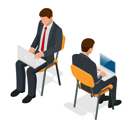 Isometric man in suit sitting with a laptop on his knees on isolated background. Successful businessman sitting in an office.
