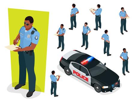 Isométrico oficial de policía en uniforme y coche de policía. Ilustración de vector aislado sobre fondo blanco. Policía oficial de servicio de emergencia coche conducción calle Foto de archivo - 85021896
