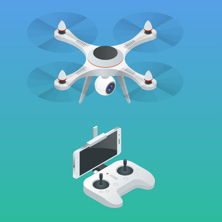 Isometric Radio-controlled drone. Innovation video and photography equipment. Vector illustration. Vectores