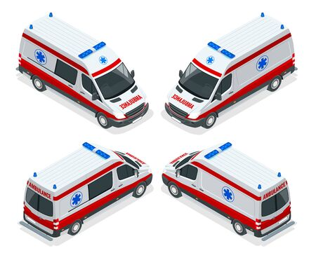 Transport isometric set Ambulance van isolated vector illustration. Emergency medical evacuation accident. Accident Ambulance Aid Service Clinic Emergency Department for Infographics, banner, web