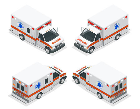 Transport isometric set Ambulance van isolated vector illustration. Emergency medical evacuation accident. Accident Ambulance Aid Service Clinic Emergency Department for Infographics, banner, web Vectores
