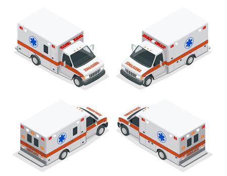 Transport isometric set Ambulance van isolated vector illustration. Emergency medical evacuation accident. Accident Ambulance Aid Service Clinic Emergency Department for Infographics, banner, web Illustration