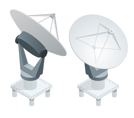 Isometric Satellite dish antennas on white. Wireless communication equipments