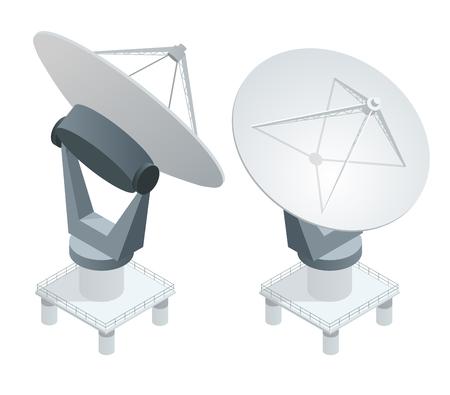 Isometric Satellite dish antennas on white. Wireless communication equipments