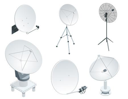 Isometric set Satellite dish antennas on white. Wireless communication equipments.