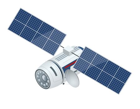 Satélite GPS. Vector plano ilustración isométrica. Tecnología satelital inalámbrica. Red global mundial.