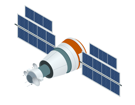 Satelita GPS. Wektor płaski ilustracji wektorowych. Bezprzewodowa technologia satelitarna. Światowa globalna sieć. Ilustracje wektorowe