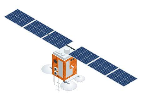 Satellite GPS. Illustrazione isometrica di vettore piatto. Tecnologia satellitare wireless. Rete globale mondiale. Vettoriali