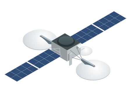 Satélite GPS. Vector plano ilustración isométrica. Tecnología satelital inalámbrica. Red global mundial. Ilustración de vector