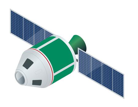satelite: GPS satellite. Flat vector isometric illustration. Wireless satellite technology. World global net.