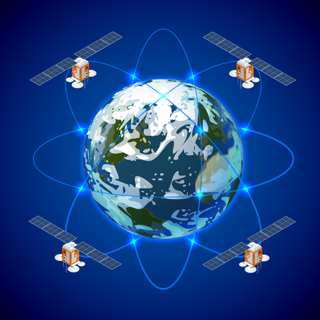 Network and satellite data exchange over planet earth in space. GPS satellite.