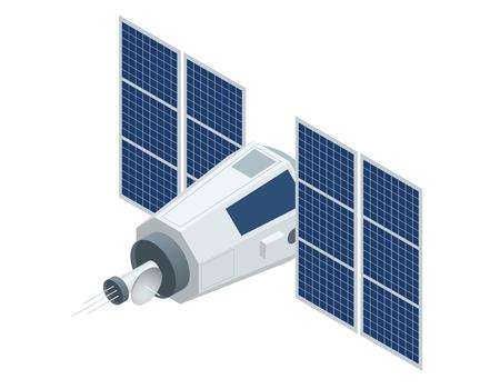 Satelita GPS. Płaski 3D ilustracji izometrycznej wektora. Bezprzewodowa technologia satelitarna. Światowa globalna sieć.