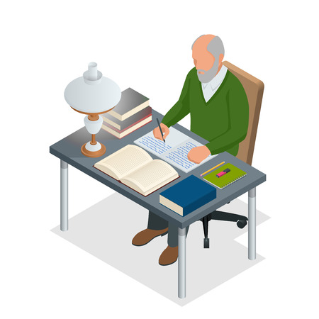 Isometric old people or Senior man. The old man sits at a table with books and a lamp and writes. Isolated on white background. Illustration