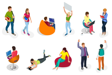 Isometric set of students with gadgets and books. Isometric young people, teenagers and students. Learning, education and school concept. on white background isolated. Illustration