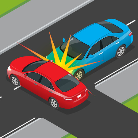 Isometric Traffic Accident involving two vehicles on the road. Car crash template vector flat style. Car crash banner.