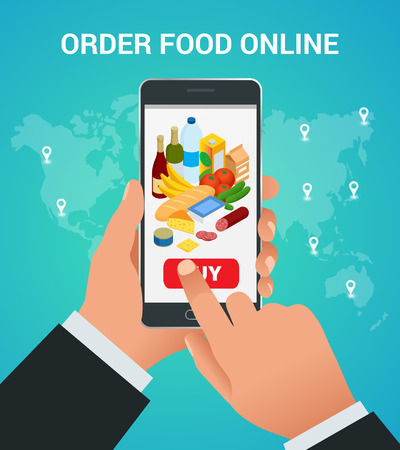 mujer en el supermercado: Banners for web site online food order, food delivery and drone delivery. Online shopping concept. Isometric vector illustration