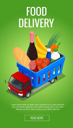 mujer en el supermercado: Banners para el sitio web de pedidos de comida en línea, entrega de comida y entrega de aviones no tripulados. Concepto de compras en línea. Ilustración vectorial isométrica