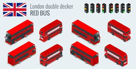london tower bridge: Isometric set of London double decker Red bus. United Kingdom vehicle icon set. 3D flat vector illustration