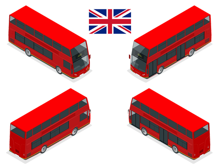 Isometric set of London double decker Red bus. United Kingdom vehicle icon set. 3D flat vector illustration