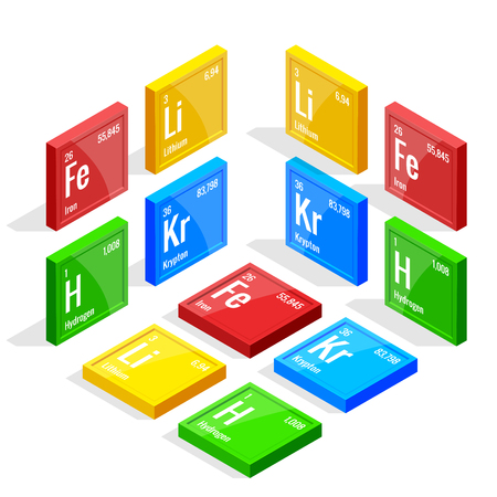 Isometric set of elements of the periodic table Mendeleev s Periodic Table. Vector illustration lithium, iron, krypton, hydrogen