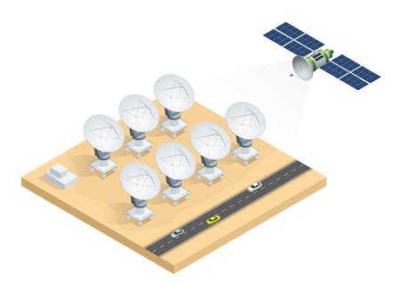 Isometric grupa radiowi teleskopy, antena satelitarna anten przekazu dane nadawcza wektorowa ilustracja odizolowywająca na białym tle.