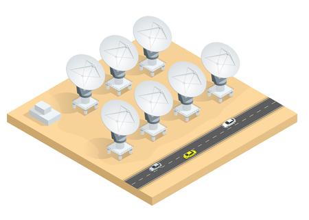 Isometric grupa radiowi teleskopy, antena satelitarna anten przekazu dane nadawcza wektorowa ilustracja odizolowywająca na białym tle. Ilustracje wektorowe