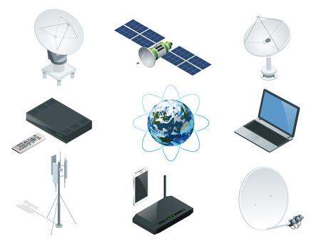 Isometrische drahtlose Technologie und globale Kommunikationssymbole ragen Satellitenantennen-Radioteleskoprouter und Erdorbit-Raumstation GPS-Satellit isoliert Vektor-Illustration Welt globales Netz. Vektorgrafik