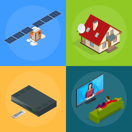 transmit: Four isometric web concepts a house with an antenna, satellite, a TV tuner, a man watching television. Wireless Technology and Global communication