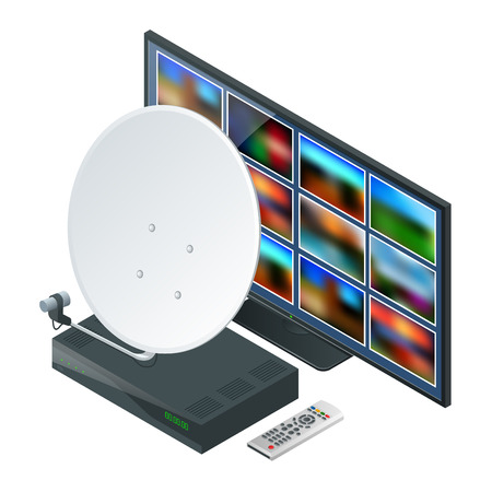 transmit: Isometric icon an antenna, a remote and receiver for satellite TV and TV on white. Wireless Technology and Global communication. Vector illustration World global net