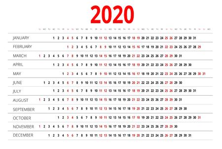 calendar design: 2020 calendar. Print Template. Week Starts Sunday. Portrait Orientation. Set of 12 Months. Planner for 2020 Year. Illustration