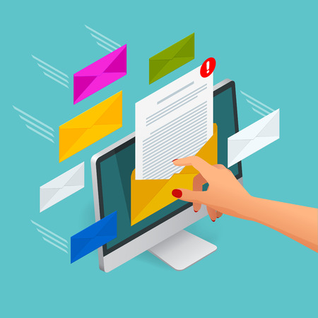 mobile communication: Incoming email isometric vector concept. Receiving messages. Laptop with envelope and document on a screen. Email, email marketing, internet advertising concepts.