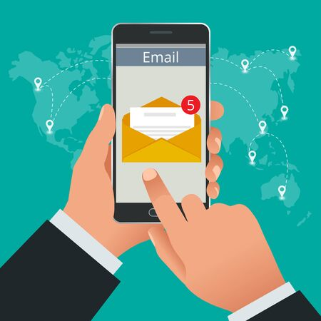 mobile communication: Man received an e-mail online on a mobile phone. Message online Incoming email isometric vector concept. Receiving messages