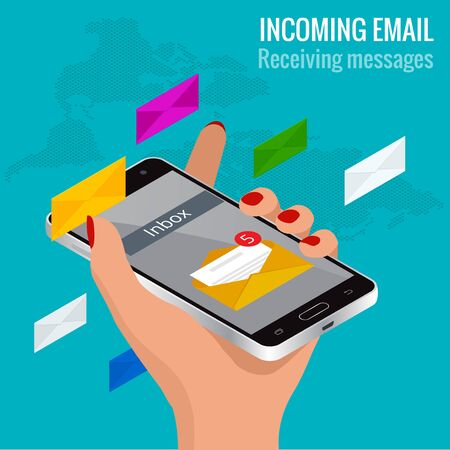Woman received an e-mail online on a mobile phone. Message online Incoming email isometric vector concept. Receiving messages Illustration