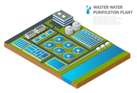Serbatoi isometrici di vettore in impianto di depurazione delle acque reflue. Articolo scientifico illustrativo. Pittogramma detergente per chimica industriale Scarico di rifiuti chimici liquidi Vettoriali
