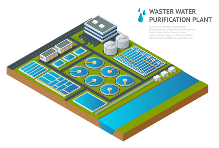 Vector isometric storage tanks in sewage water treatment plant. Illustration scientific article. Pictogram industrial chemistry cleaner Discharge of liquid chemical waste Ilustração