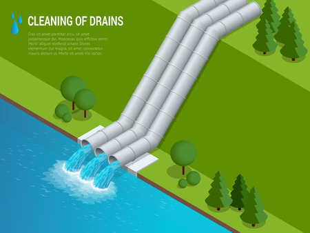 construction: Cleaning of drains Cleaning of drains Discharge of liquid chemical waste. The danger for the environment. Flat 3d isometric illustration For infographics and design