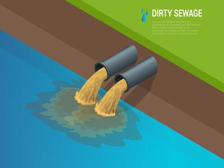 El agua sucia proviene de la tubería que contamina el río. Descarga de desechos químicos líquidos. El peligro para el medio ambiente Ilustración isométrica plana 3d. Para infografías y diseño