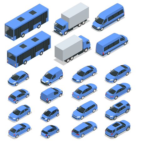 Flat isometric high quality city transport car icon set. Car, van, cargo truck, off-road, bike, mini, sport car. Transport set. Set of urban public and freight transport for infographics
